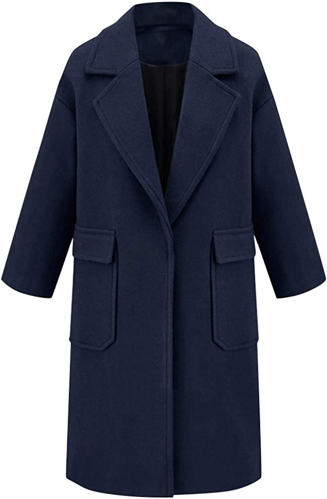 Aritone Clearance!! Coat Jacket Womens Winter Lapel Wool Coat Trench Jacket Long Overcoat Outwear with Pockets
