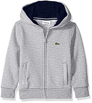 Lacoste boys Kids Sport Hooded Fleece Sweatshirt Sweater Silver Heathered/Navy Blue 4 US