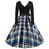 Celucke Vestido de Manga Larga Vintage con Estampado de Cuadros, para Mujer, para la casa de los años 50, para Fiesta de graduación