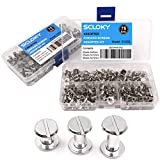 Seloky 75 Sets Silvery Chicago Screws Assorted Kit 1/4 3/8 1/2 Inches Screw Posts Metal Accessories Nail Rivet Chicago Button for DIY Leather Decoration Bookbinding Round Flat Head Stud Screw