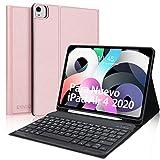 Teclado Español para iPad Air 4, KVAGO Funda con Teclado Bluetooth para iPad 10.9 2020/iPad Pro 11 2021/2020/2018, Cover Ultra Slim con Función de Soporte Protectora Plegable, Oro Rosa