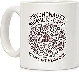 Psychonauts Summer Camp - Taza de café de cerámica, diseño de campamento de verano, color blanco, 325 ml, para viajes, oficina, hogar
