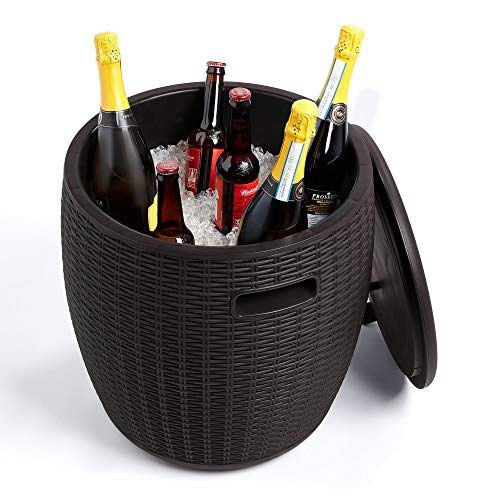 VonHaus 45L Rattan Effect Ice Bucket – Drinks Cooler with Carry Handles and Drainage Plug – Stool – Side Table – All Weather Outdoor Garden Furniture for Patio, Decking, Balcony - Black
