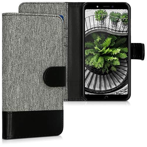 kwmobile Hülle kompatibel mit bq Aquaris C - Kunstleder Wallet Hülle mit Kartenfächern Stand in Grau Schwarz