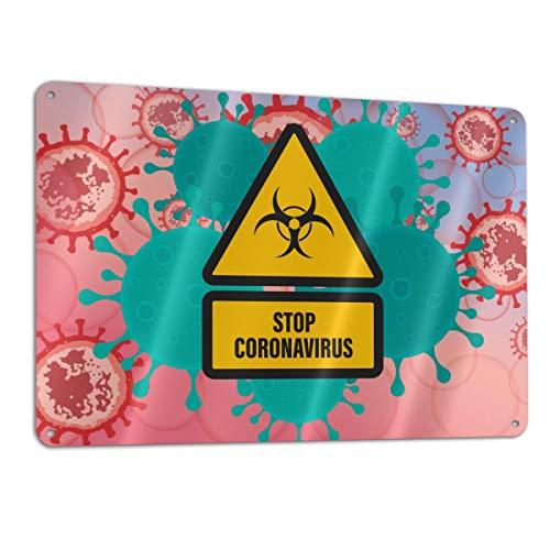 SD3DPrint Seal metlica de aluminio Stop Coronavirus de 30,5 x 20,3 cm