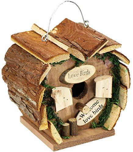 com-four® Boîte gigogne en Bois à Suspendre, nichoir en Forme de cœur pour Oiseaux Sauvages, 17 x 12 x 17 cm (01 pièce - nid d'abeilles)