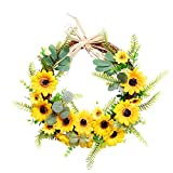 Artificial Simulation Leaf Bee Sunflower Wreath, 20 Inches Spring Summer Outdoor Green Wreath for Front Door Wall Window Party Décor, Housewarming Gift (1#)