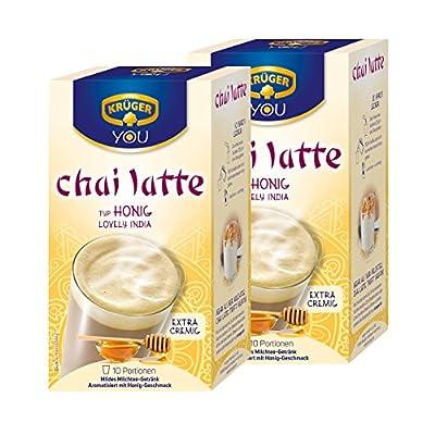 Krüger Chai Latte Lovely India, Honig-Geschmack, mildes Milchtee Getränk, 2er Pack, 2 x 10 Portionsbeutel