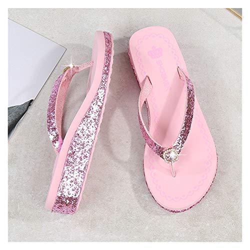 `Star Empty Pantuflas de Mujer Pendiente de Verano con Lentejuelas Plataformas Flip Flip de 4 cm de tacón Alto Holiday Rhinestone Beach Slippers (Color : Pink, Size : 35)
