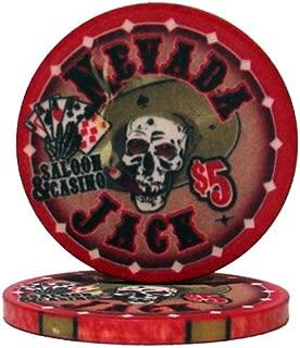Nevada Jack Casino Grade Ceramic 10-gram Poker Chip – Pack of 50