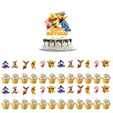 25 Pcs Winnie The Pooh theme Cupcake Toppers Birthday Party Cupcake Decoration Supplies For Kids