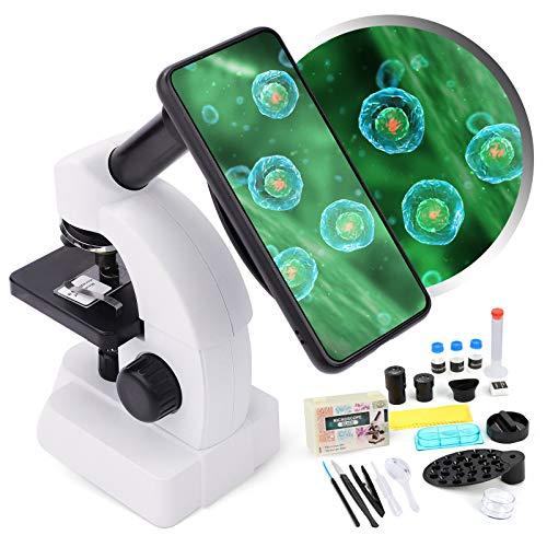Microscopio 40X-1600X para niños y principiantes - Microscopios monoculares con lentes de vidrio óptico y 10 diapositivas