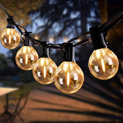 LED Outdoor String Lights, 25Ft G40 Patio Lights with 27 LED Vintage Edison Bulbs(2 Spare), UL listed Commercial Hanging Lights Weatherproof Porch Lights for Garden Backyard Bistro Pergola Tent Gazebo