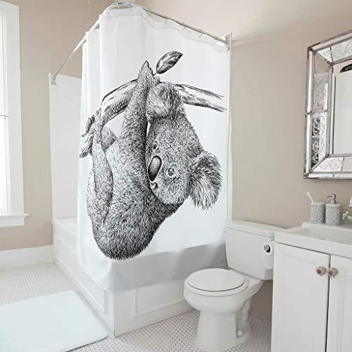 LAOAYI Duschvorhangset mit Haken Monks wasserdichtes Polyester faltenbeständig Duschvorhang für Familien und Hotels white8 150x180cm