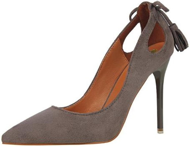 Cloudless Women's Stilettos Heel Pumps Back Bowtie Beads Slip-on Suede Vamp Pumps