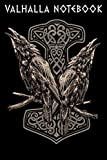 VALHALLA NOTEBOOK: Viking Norse Mythology Huginn and Muninn with Mjölnir | College Line Ruled Sketch Urnes Style Viking Ship Notebook