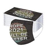 2021 Happy New Years Herren Damen Mundschutz Multifunktional Halbes Gesicht Bandanas Atmungsaktiv Mundbedeckung 3-lagige Ohrring Stoff 50pcs, 3