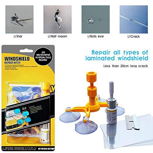 Kit de Reparación de Parabrisas de Automóvil para Chips y Grietas, Windshield Repair Kit para Reparar Arañazos, Reparación de Grietas, de Blancos, Roturas, etc
