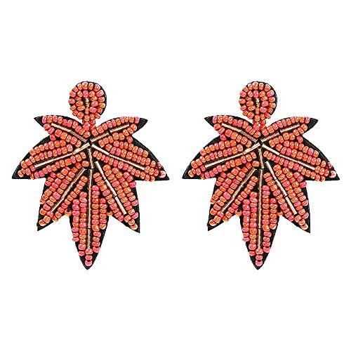 Diadema Adornos Tocados Horquillas Earrings Handmade Rice Beads Maple Leaf Shaped Earrings Beads