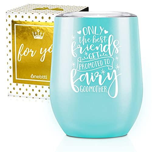 Onebttl Godmother Gifts, vaso de vino de acero inoxidable de 350 ml para la propuesta de la mejor amiga, tía, hermana madrina, con Best Friends cita-Azul turquesa
