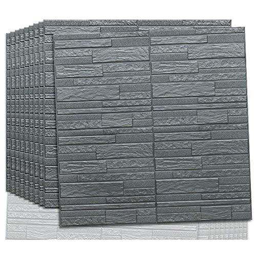3D Wandpaneel selbstklebende Tapete Foam DIY Brick Stone Wall Paper Wall Stickers Wall Decor wasserdicht TV Hintergrund Wallpaper Umweltschutz,70 * 70cm(Silver gray20pcs)