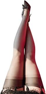 VIccoo, VIccoo Muslo Medias Altas, Calcetines Largos de Nailon ultradelgados eróticos para Mujer 5D Banda Ancha Patchwork Pura sobre la Rodilla Aceite Brillo Brillo Lencería Vintage - Gris