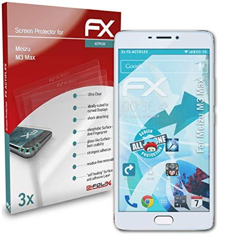 atFolix Schutzfolie kompatibel mit Meizu M3 Max Folie, ultraklare & Flexible FX Bildschirmschutzfolie (3X)