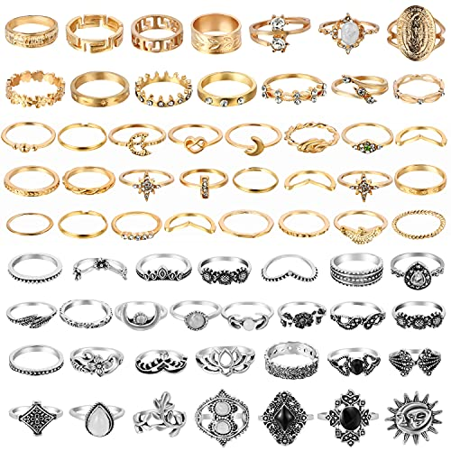 PANTIDE 67Pcs Vintage Knuckle Rings Set Stackable Finger Rings Midi Rings for Women Bohemian Hollow Carved Flowers Gold&Silver Rings Crystal Joint Rings with Storage Bag