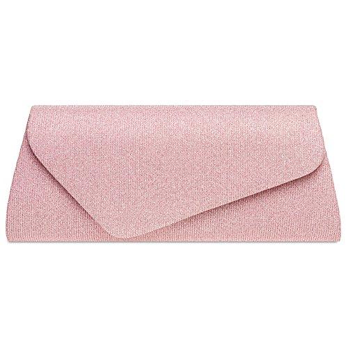 Caspar TA394 Damen elegante Glitzer Stoff Clutch Tasche Abendtasche mit langer Kette, Farbe:rosa, Größe:One Size