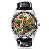 Street Town Reloj de Pulsera con diseño de Casas de Roca y Flores, analógico, de Cuarzo, Esfera Plateada, Correa de Cuero clásica, para Hombre y Mujer