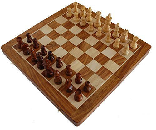 Best Chess Set Sale - 14 X 14 Inch Magnetic Foldable Premium Chess Set Board with Chessmen Storage Slots. Unique Handmade Tournament Chess Game. Gifts from India. by BKRAFT4U