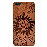 iPhone 6 Plus Case Supernatural Pentagram Star Pattern Handmade Carving Real Wooden Wood Case Cover with TPU Case for Apple iPhone 6S Plus (Only 5.5'')