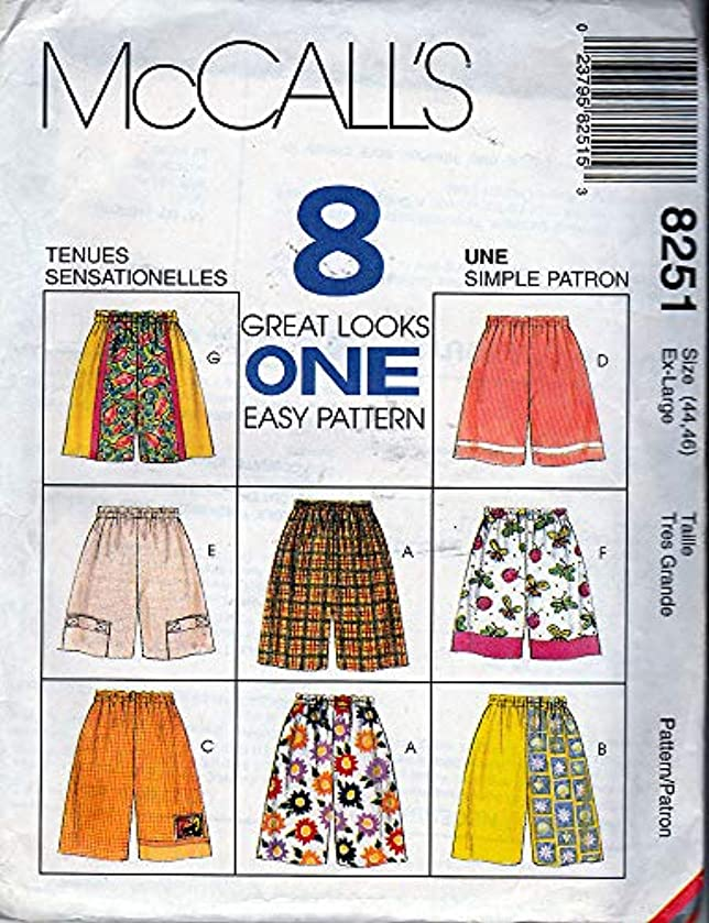 MISSES AND MENS SHORTS IN TWO LENGTHS SIZES 44-46 MCCALLS 8 GREAT LOOKS ONE EASY PATTERN #8251