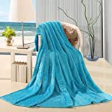 DiamondHome Super Soft Light Weight Coral Fleece Warm Throw Blanket for Couch/Sofa/Bed/Chair in Living Room & Bed Room , 50' x 60' (Turquoise)