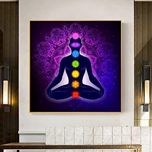 YuanMinglu Leinwand Malerei Kunst Poster Druck Indische Buddha Meditation 7 Chakra Yoga Übung Wandkunst Wohnzimmer Schlafzimmer Rahmenlose Malerei 40x40cm