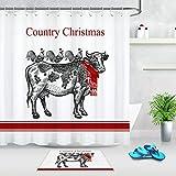 WANGXIAO Weihnachtshandzeichnung Kuh Huhn Duschvorhang Set 12 Haken für Duschvorhang wasserdichtes Badezimmerdekor
