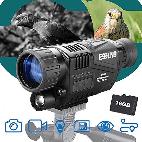 ESSLNB Visore Notturno Monoculare 5X40 Visore Notturno Caccia Infrarosso IR Telecamera Registrazione Immagine e Video Riproduzione Funzione 16GB TF Carta per Caccia