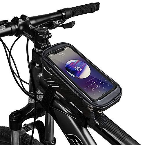COPOZZ Wasserdicht Fahrrad Rahmentasche Handy Fahrradtasche LenkerTasche Oberrohrtasche Mountainbike Rahmen Tasche Handyhalterung Handytasche for Smartphone iPhone 6.5 Zoll