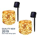 BINZET Solar String Lights Outdoor, 33Ft 100LEDs Waterproof Decorative Copper Wire String Lights for Party, Patio, Garden, Gate, Yard, Wedding, Christmas (Warm White,2 Pack)