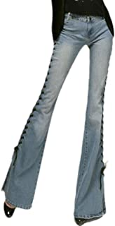Women Strappy Denim Pants Empire Waist Side Split Flare Palazzo Jeans