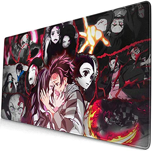 Anime Demon Slayer kimetsu no Yaiba Nezuko Kamad Mouse MAT, Large Gaming Mouse Pad Extended Mouse Mat with Non-Slip 3mm, Non-Slid Eco-Friendly Stitched Edges Positive Desk pad for Computer Home
