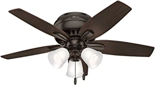 Hunter Indoor Low Profile Ceiling Fan, with pull chain control - Newsome 42 inch, Premier Bronze, 51078