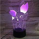 Gutonghao 3D Pokemon Optique Table Lumière Humeur Lampe Toucher Télécommande 7 Couleurs Change Home Light Enfants...