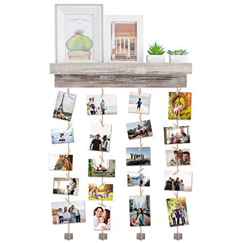 Vencipo Mensole da Muro Design per Appendere Cornice Portafoto Collage, Cornici Foto in Legno Multipla con 24 Foto Clips, Scaffale Legno Accessori per Camera da Letto.