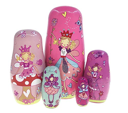BBYaki Niedliche Rosa Lucy Angel Princess Verschachtelung Puppe Matryoshka Russische Puppe Handgemachtes Stapeln Spielzeug für Kinder Mädchen Dekoration, 5er Set