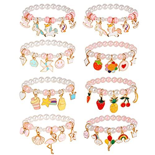 Hifot 8 Pezzi Amicizia Braccialetti per Bambini, Unicorno Braccialetto Arcobaleno Fenicottero Frutta Corona Perline Bracciale Gioielli Bambina, Regalino per Festa Compleanno Bambini