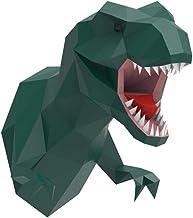 T-Rex Head Wall Mount, ENDARK DIY Papercraft Animal Head 3D Wall Trophy Tyrannosaurus Rex Paper Head(Green)