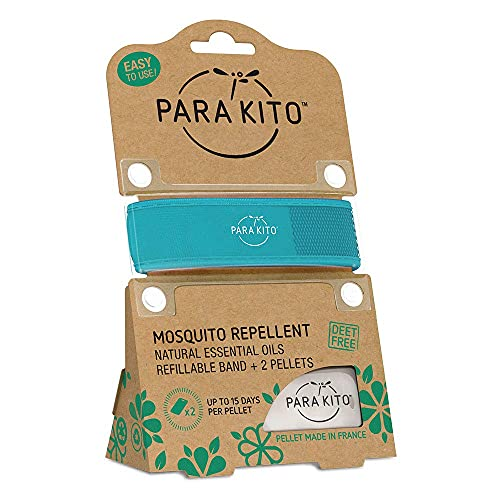 PARA'KITO Mosquito Insect & Bug Repellent Wristband - Waterproof, Outdoor Pest Repeller Bracelet w/ Natural Essential Oils (Turquoise)