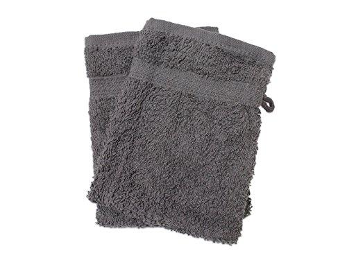 Soleil d'ocre 421102 Douceur Lot de 2 Gants de Toilette Coton Gris 21 x 16 cm