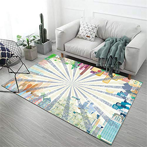DJHWWD tapijten verbleken niet als koffietafel, antislip slaapkamertapijt van het karikatuurarchitectuurpatroon, zacht tapijt, duurzaam, mooi kindertapijt